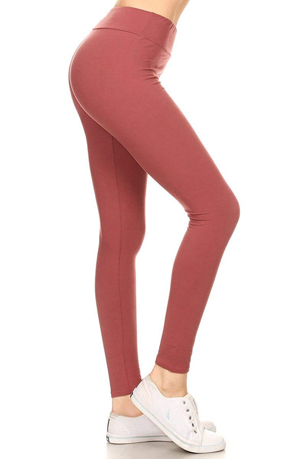 Women's High Waist Solid Yoga Work Out Pants Leggings for Regular and Plus