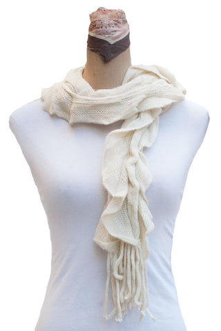 Women's One Size Knitted Ruffle Scarf