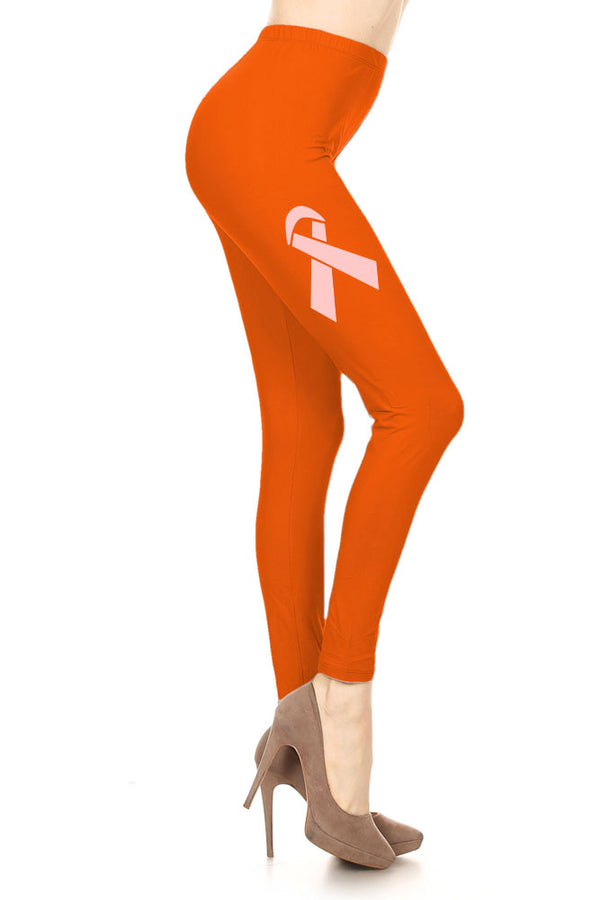 Women's Breast Cancer Awareness Ribbon Printed Leggings for Regular Plus 3X5X