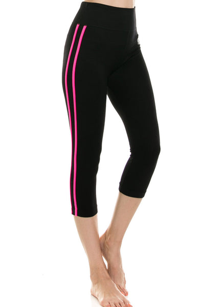 Women's Contrast Stitch Activewear CAPRI Legging - Workout Gym Yoga Pants Tights