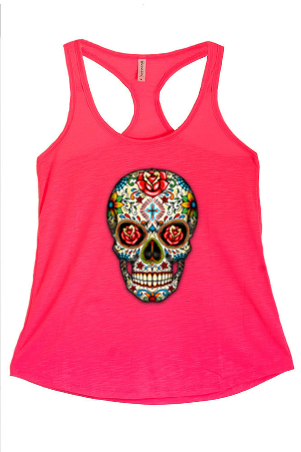 Women's Sugar Skull With Roses Graphic Print Polyester Tank Tops for Regular and PLUS - Small ~ 3XL