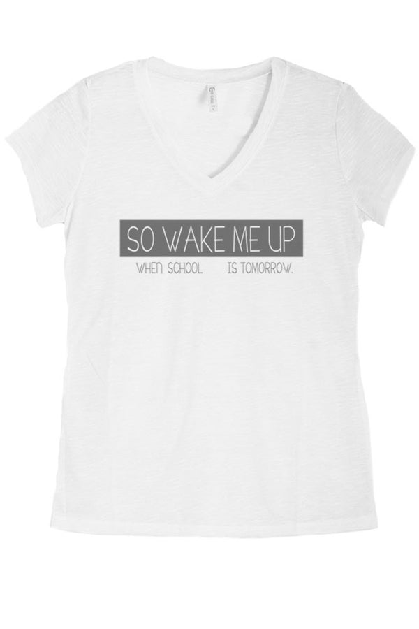 Women's Regular So Wake Me Up Graphic Print V-Neck Polyester Top