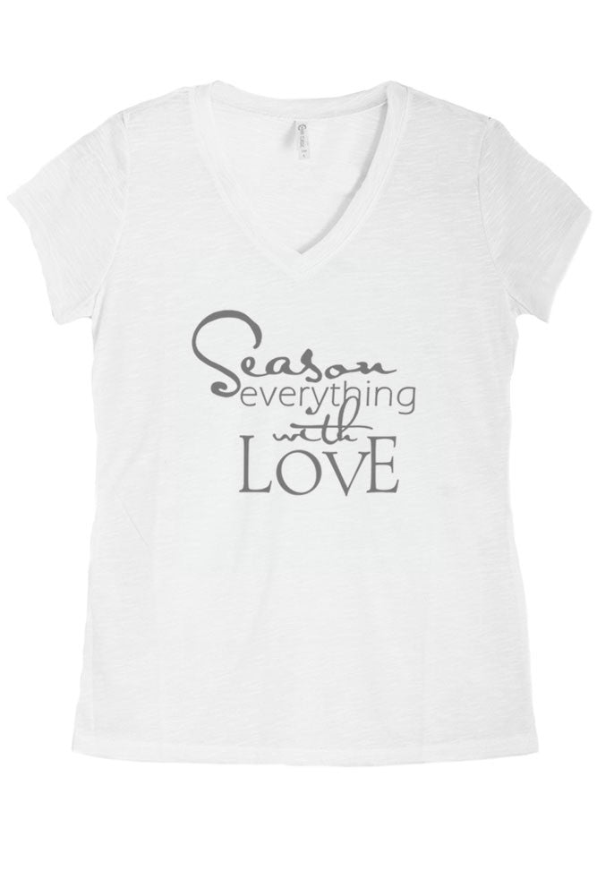 Women's Regular Season Everything With Love Graphic Print V-Neck Polyester Top