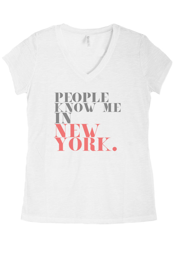 Women's Regular People Know Me In New York Graphic Print V-Neck Polyester Top