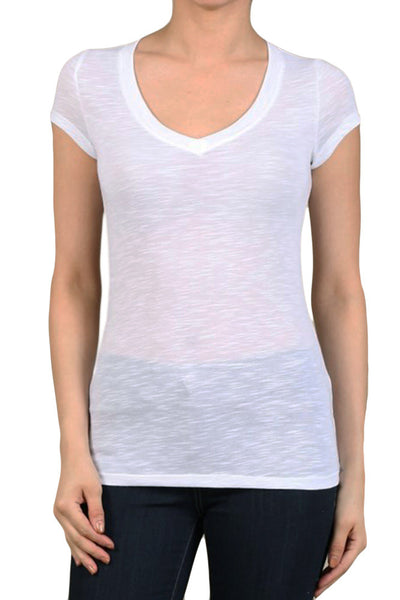 Women's Regular Solid Color V-Neck Polyester Short Sleeve Shirts