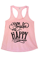 Women's Junior Fit You Make Me Happy  Printed Graphic Polyester Tank Top