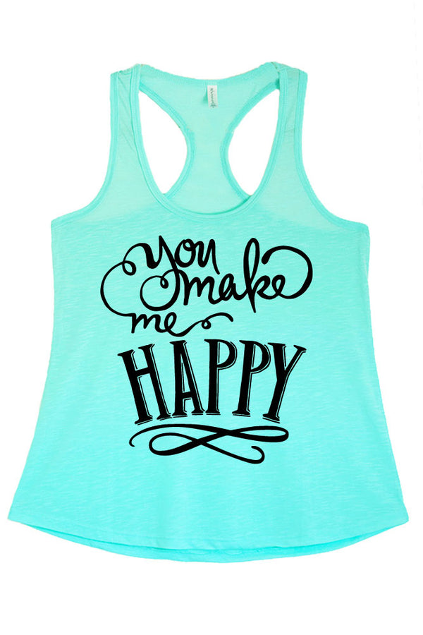 Women's PLUS Junior Fit You Make Me Happy Printed Graphic Polyester Tank Top