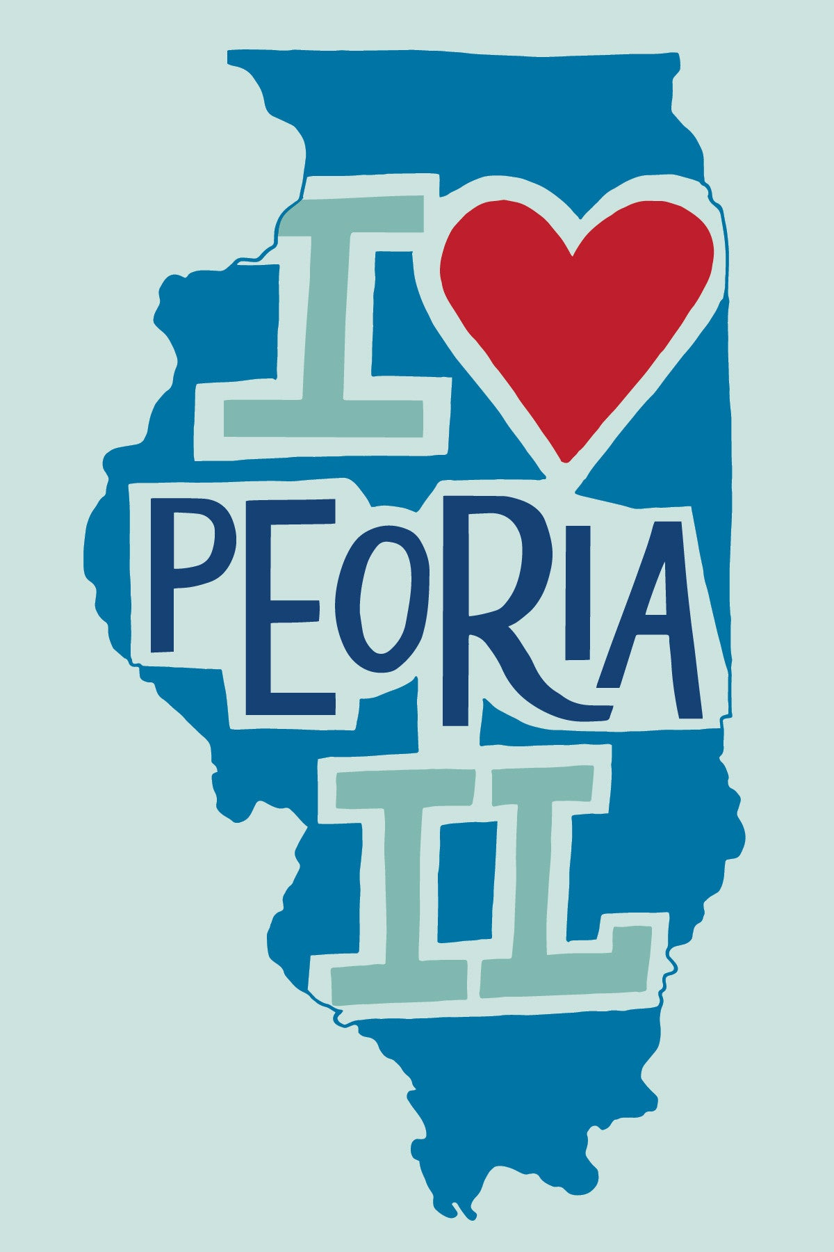 Hand-Lettered I Heart Peoria Postcard (Blue)