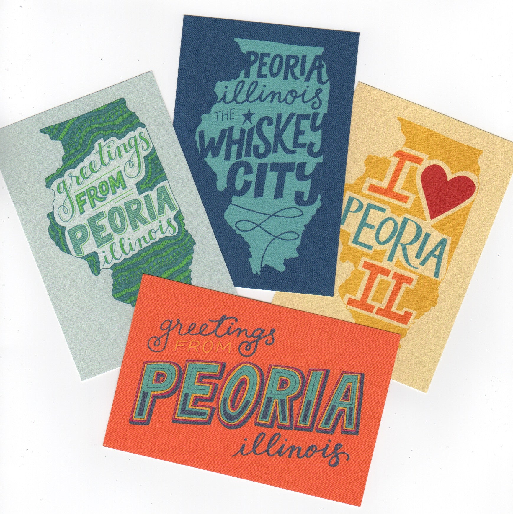 Hand-Lettered Peoria Postcards (Set of 4)