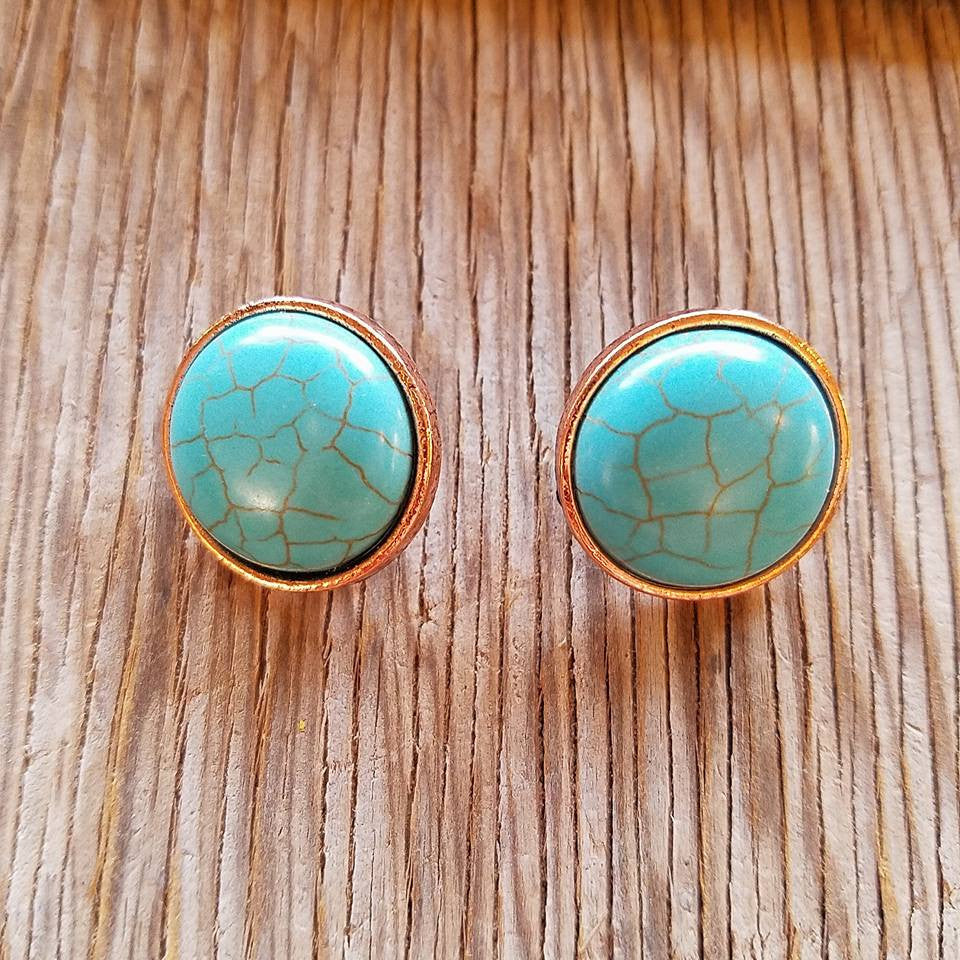 Clip On Copper Turquoise Earrings