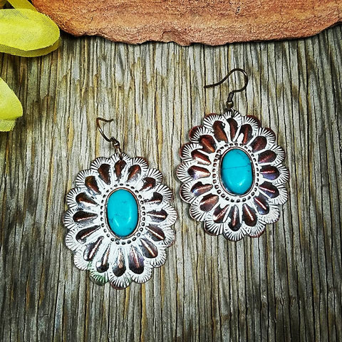 Antique Bronze Concho Earrings
