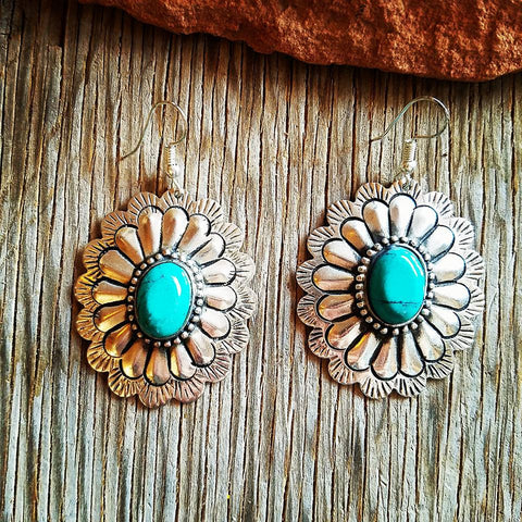 Antique Turquoise Concho Earrings