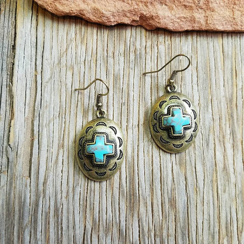 Antique Turquoise Cross Concho Earrings