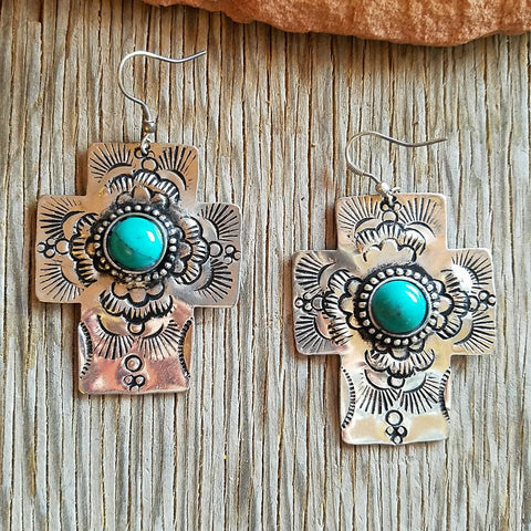 Antique Turquoise Cross Earrings