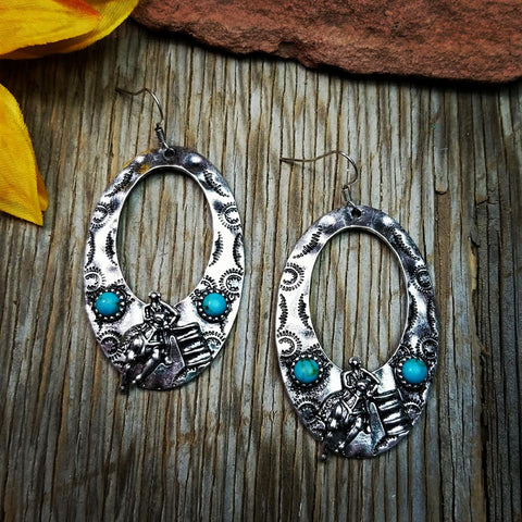 Barrel Racing Oval Earrings
