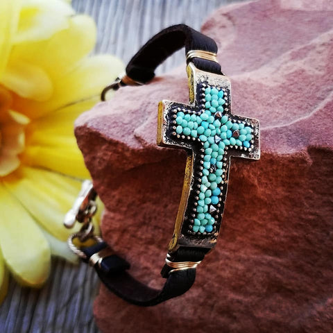 Beaded Cross Leather Bracelet