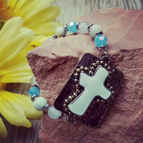 Beaded Mint Cross Bracelet