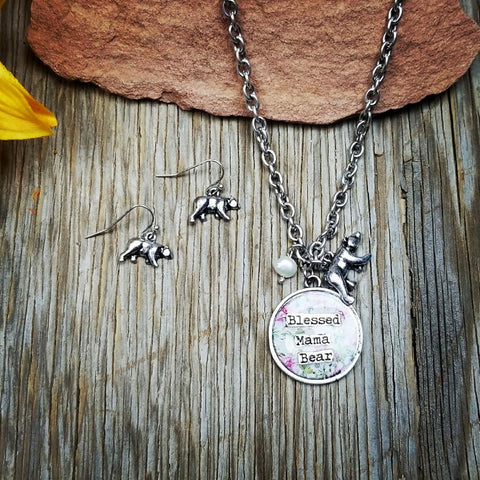 Blessed Floral Mama Bear Necklace