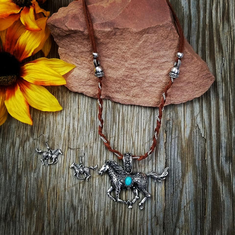 Braided Leather Horse Necklace