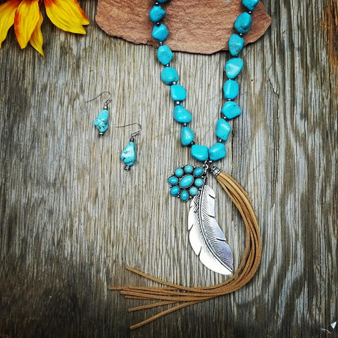 Chunky Turquoise Feather Fringe Necklace