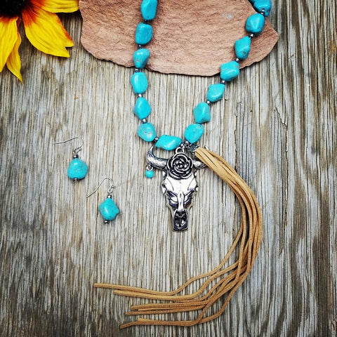 Chunky Long Steer Head Necklace