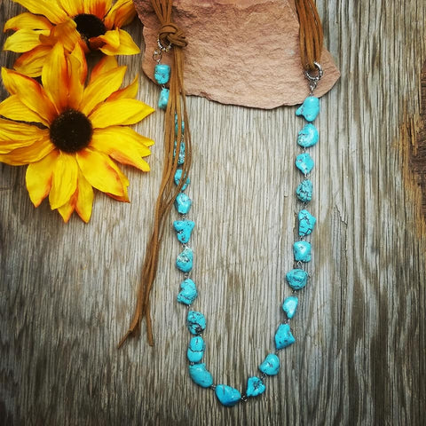 Chunky Turquoise & Leather Long Necklace