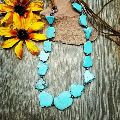 Chunky Turquoise Slab Necklace