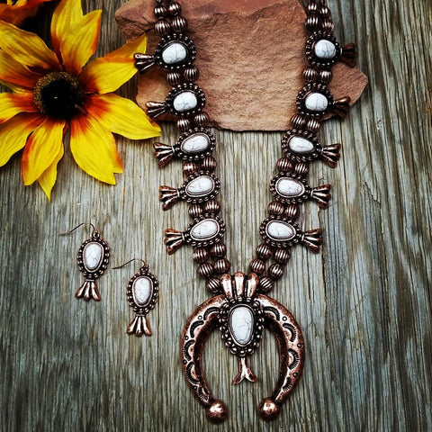 Copper & Ivory Aztec Squash Blossom Necklace