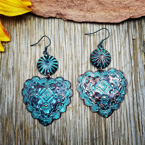Copper & Patina Aztec Heart Earrings
