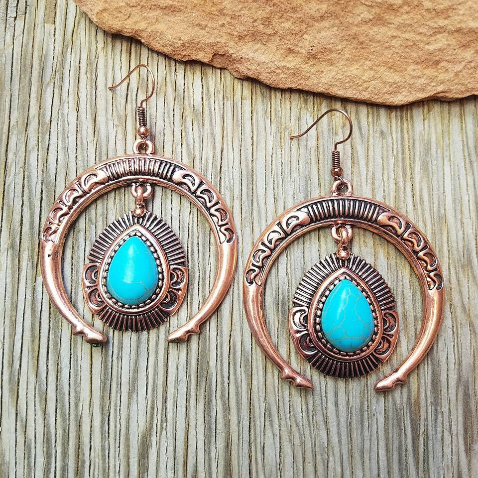 Copper & Turquoise Squash Blossom Earrings