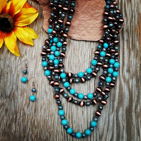 Copper & Turquoise Multi Strand Necklace