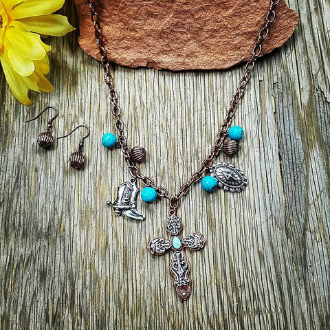 Cross & Boot Charm Necklace