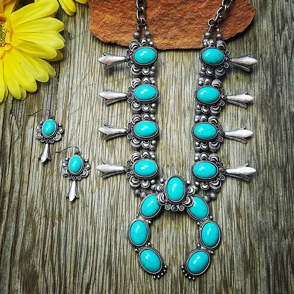 Turquoise Detailed Squash Blossom Necklace