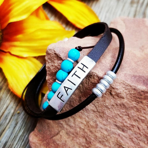 Faith Layered Leather Bracelet