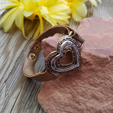 Brown Metallic Heart Leather Bracelet