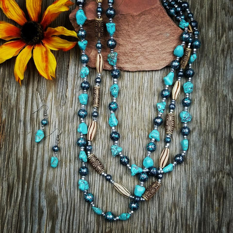 Burned Gold & Turquoise Beaded Necklace