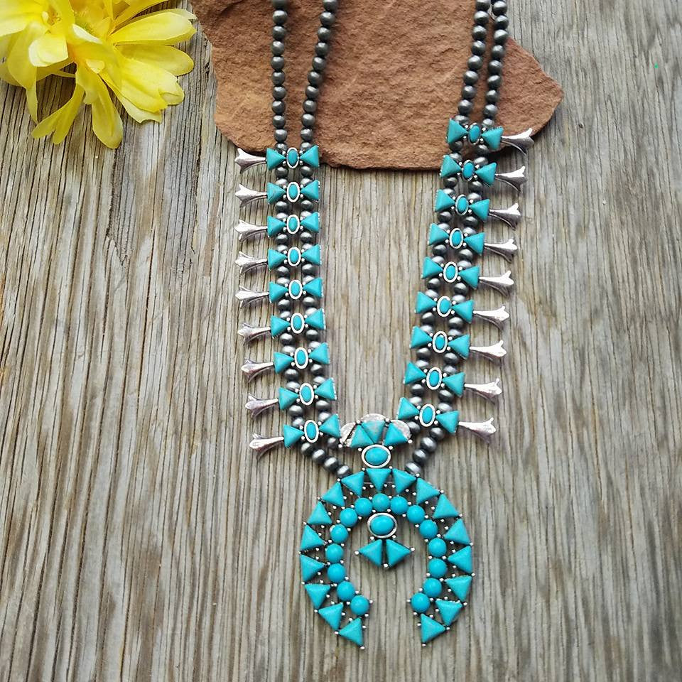 Turquoise and Silver Double Strand Squash Blossom Necklace