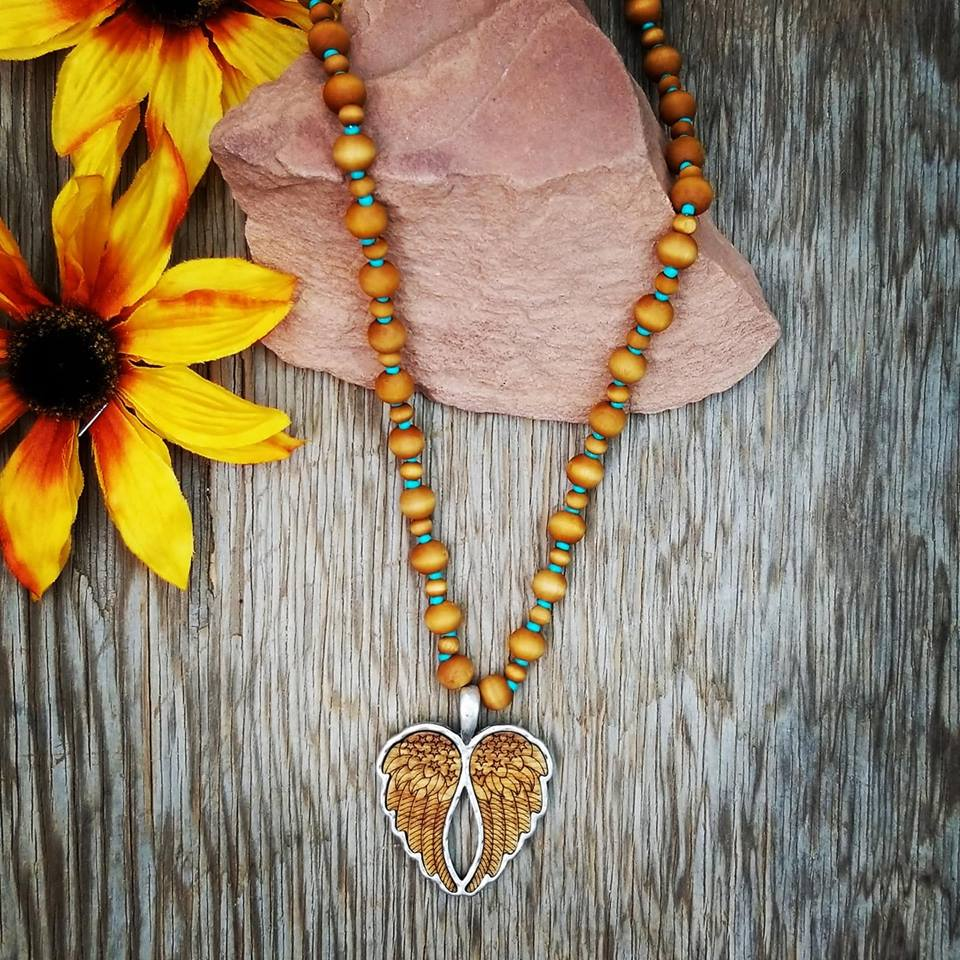Angel Wing Wood Beaded Necklace Angel Wing