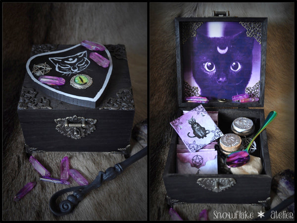 Magische Holzbox Black Cat