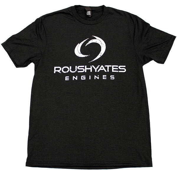 T-shirt, Black Frost with vintage Roush Yates Engines logo in a distressed white screen print on front