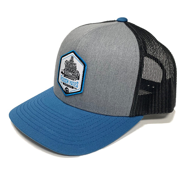 Hat HeatherGrey_LightCharcoal_OceanBlue with engine patch in center front