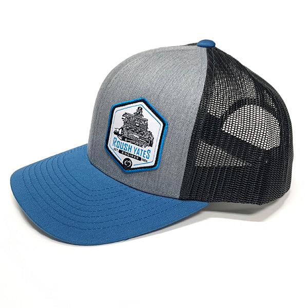 Hat HeatherGrey_LightCharcoal_OceanBlue with engine patch in side front