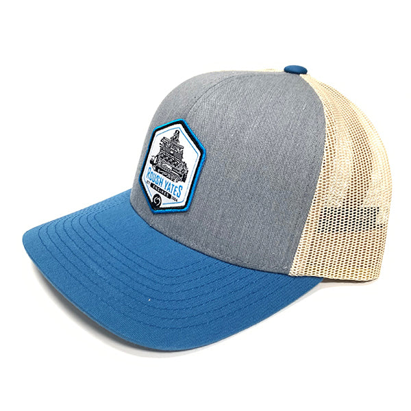 Hat HeatherGrey_OceanBlue_Beige with engine patch on center front