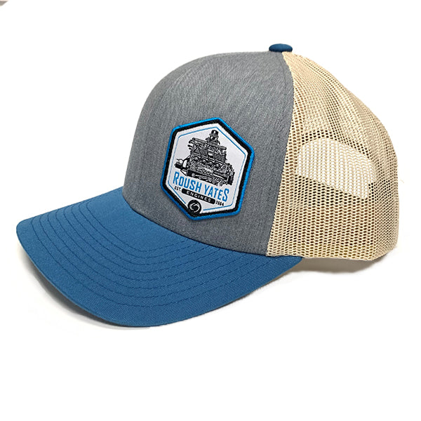 Hat HeatherGrey_OceanBlue_Beige with engine patch on side front
