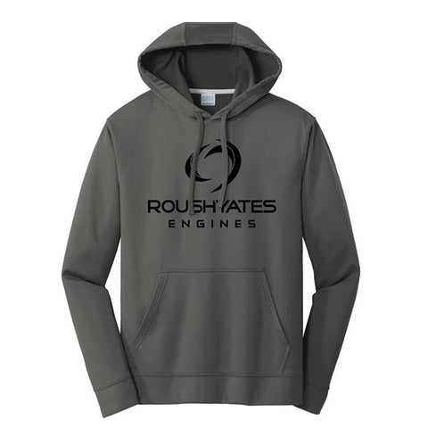 PERFORMANCE FLEECE HOODIE with 2D LOGO - CHARCOAL