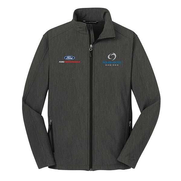 ROUSH YATES ENGINES SOFT SHELL JACKET -  BLACK CHARCOAL HEATHER
