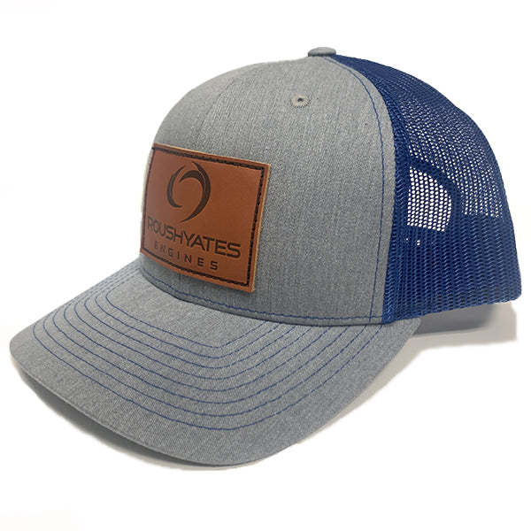 ROUSH YATES ENGINES LEATHER PATCH HAT - HEATHER GREY / ROYAL