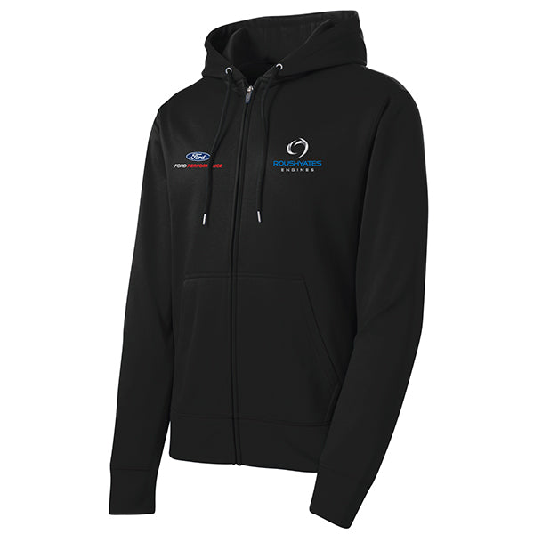 Roush Yates Engines Black Performance Fleece Full Zip up with hood and embroidered logos