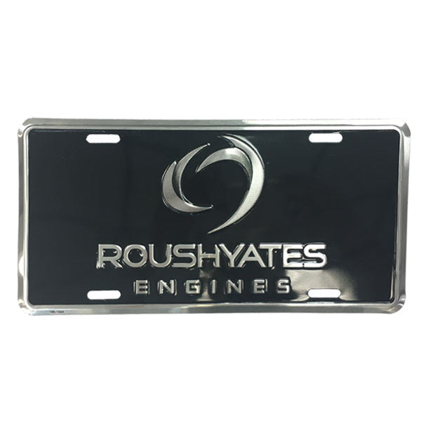 "Black license plate with Roush Yates Engines logo embossed in silver lettering, 6""X12"""