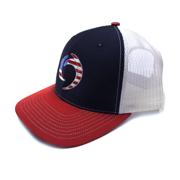 Hat_ Navy, Red, White with Red, White and  Blue Storm on front